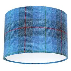 Blue Check Harris Tweed Lampshade by Quirk, the perfect gift for Explore more unique gifts in our curated marketplace. Table Lamp Base, Lamp Bases, Tartan Decor, Harris Tweed Fabric, Lounge Lighting, Blue Bedroom, Master Bedroom, Blue Check, Drum Shade