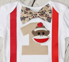 Sock Monkey Birthday Outfit, Birthday Outfit, Baby Boy First Birthday Bodysuit by CrestlineCreatives on Etsy https://www.etsy.com/listing/178177043/sock-monkey-birthday-outfit-birthday