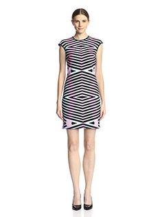 Maia Women's Illusion Print Sheath Dress (Black/Pink)