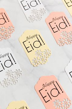 'Happy Eid' Tags are a perfect way to dress up any gift and are also perfect for dessert boxes and gift bag labels. Gold, silver, and rose gold Happy Eid tags. Eid Mubarak Stickers, Eid Mubarak Gift, Eid Stickers, Diy Eid Gifts, Craft Gifts, Diy Eid Decorations, Eid Hampers, Eid Crafts, Cool Paper Crafts