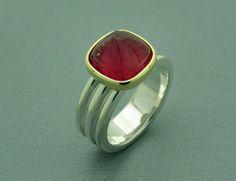 Rosa Turmalin Ring Silber & Gold von Orfeu auf DaWanda.com