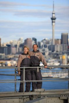 Auckland Harbour Bridge Climb & Auckland Harbour Bridge Bungy pioneered by AJ Hacket. Jump or climb from one of Aucklands iconic landmark's views over harbour Auckland, Climbing, Bridge, Winter Jackets, Winter Coats, Rock Climbing, Hiking, Legs, Bro