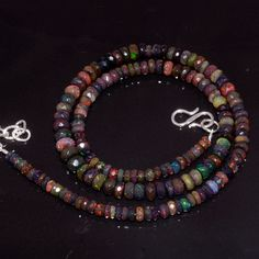 """60CRTS 3.8to6MM 18"""" ETHIOPIAN OPAL RONDELLE FACETED BEADS NECKLACE OBI3901 #Opalbeadsindia"""