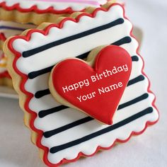 Write Name on Yummy Cookies Birthday Cake.Print Name on Red Heart Cake.Personalize Cake With Name For Lover.Edit Cake Photos With Your Name and Send on Whatsapp