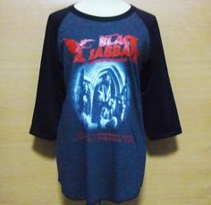 Size L Black Sabbath raglan shirt crew neck tee baseball tee glam metal clothing #unbranded #34sleeve
