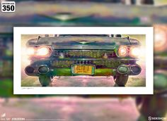Ghostbusters Ecto-1 Fine Art Print by Brian Rood | Sideshow Collectibles Sideshow Collectibles, Ghostbusters, Fine Art Prints, Art Prints