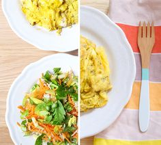 carrot, cabbage and celery detox salad with turmeric tarragon scrambled eggs
