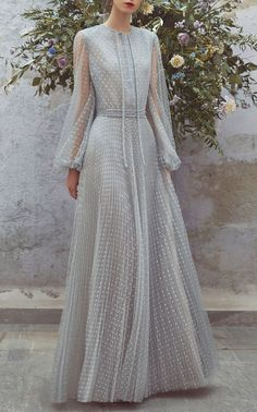 Tulle Chemisier Full Length Dress by LUISA BECCARIA for Preorder on Moda Operandi