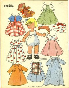 Aranita, a paper doll from Spain by M. 3d Paper, Paper Toys, Free Paper, Paper Crafts, Vintage Paper Dolls, Vintage Toys, Doll Toys, Baby Dolls, Reborn Dolls