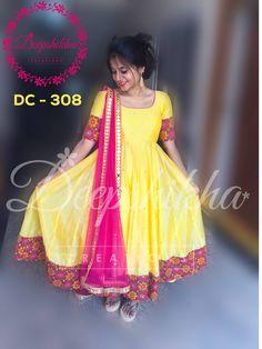 DC - 308For queries kindly inbox orEmail - deepshikhacreations@gmail.com Whatsapp / Call -  919059683293  06 November 2016 Long Gown Dress, Saree Dress, Designer Anarkali Dresses, Designer Dresses, Frock Models, Kalamkari Dresses, Indian Gowns Dresses, Dress Indian Style, Kurti Designs Party Wear