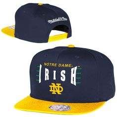 319fc5eb2ce Mitchell   Ness Notre Dame Fighting Irish Zone Squeeze Snapback Adjustable  Hat - Navy Blue