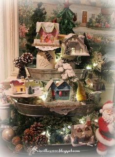 Priscillas: Vintage Glitter House Galvanized Tiered Tray