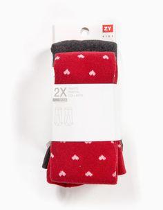Pack de dois collants de menina muito confortáveis em algodão e elastano. Elásticos e confortáveis são imprescindíveis no armário…