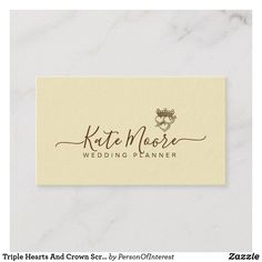Triple Hearts And Crown Script Wedding Planner Business Card Cool Cards Professional