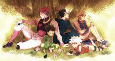 Hunter x Hunter-Hisoka, Gon, Leorio, Killua, Kurapika! Hisoka, Killua, Hunter X Hunter, Hunter Anime, Anime Boys, L Anime, Fille Gangsta, Hxh Characters, Backgrounds