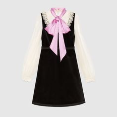 See this and similar Gucci dresses - Shop the Velvet dress with bow by Gucci. A mix of materials add contrast to this lace detail dress. The GG pearl buttons ar. Day Dresses, Dresses With Sleeves, Gucci Dress, Embellished Dress, Dress With Bow, Vintage Dresses, Dress Skirt, Vintage Velvet, Pattern Dress