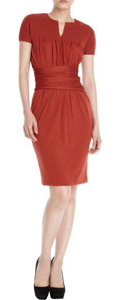 Gathered Waist Dress - Giambattista Valli (Shades of Love Casual Short Red Silk Wool/cashmere Shortsleeves)