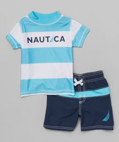 This Turquoise Stripe Rashguard Set - Boys by Nautica is perfect! #zulilyfinds