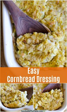 This Easy Cornbread Dressing is the perfect side dish for the holidays! There is nothing more comforting than moist, delicious southern cornbread dressing as a side dish for Thanksgiving and Christmas Too salty. Add less salt. Seafood Cornbread Dressing Recipe, Southern Style Cornbread Dressing, Cornbread Dressing With Sausage, Homemade Cornbread Dressing, Southern Cornbread Recipe, Jiffy Cornbread, Holiday Side Dishes, Thanksgiving Side Dishes, Thanksgiving Recipes