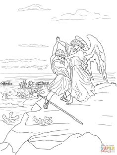 Jacob Wrestles with God coloring page | Free Printable Coloring Pages