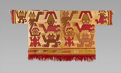 Tunic with Crescent Headdress Figures and Felines, 1450–1550. Peru, Chimú. The Metropolitan Museum of Art, New York. The Michael C. Rockefeller Memorial Collection, Bequest of Nelson A. Rockefeller, 1979 (1979.206.588) #cats