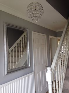 Hallway - Dulux Chic Shadow with an up cycled gold mirror spray painted silver.