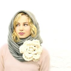 Large Gray Ivory Flower Infinity Scarf