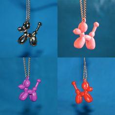 Balloon Dog Necklace Pink Metal Pendant Balloon Animal Jewlery. via Etsy.
