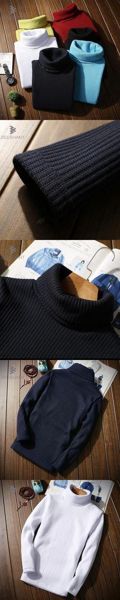 ZEESHANT Winter Thick Warm Sweater Men Turtleneck Brand Mens Sweaters Slim Fit Pullover Men Knitwear Double Collar Outwear