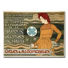 Marque Georges Richard Cycles and Automobiles 18'' x 24'' Canvas Art by Eugene Grasset