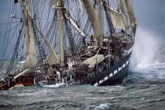 The French barque Belem en route to Dublin with 60,000 bottles of wine in her hold. The 112 year old tall ship was originally launched to carry chocolate from Brazil to France.