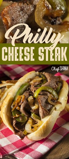 Philly Cheese Steak | The fried onions and peppers on this Philly Cheese Steak sandwich is HEAVEN! Tastes just like Philly! Philly Cheese Steak Sandwich, Fried Onions, Cheesesteak, Sandwiches, Wraps, Heaven, Beef, Stuffed Peppers, Recipes