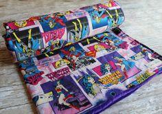 Adorable girly superhero themed baby blanket!