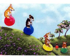"""Evie Anderson Welsh Corgi Art SIGNED PRINT """"Hoppity Hoppers"""" (signed, matted) Pembroke Welsh Corgis... This has to be the most adorable artwork i have ever seen! So so cute!!!"""