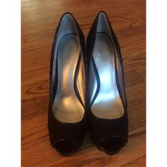 ❗️PRICE FIRM ❗️Guess Peep Toe Heels These beauties are 4 1/2 + inches, ( close to five ). They are lace with patent leather trimming. The heels are in great condition, the bottom part of the heel is a little worn, but no one will see the bottom when you're walking in these. They are a little dusty as well & the insides have been cleaned Guess Shoes Heels