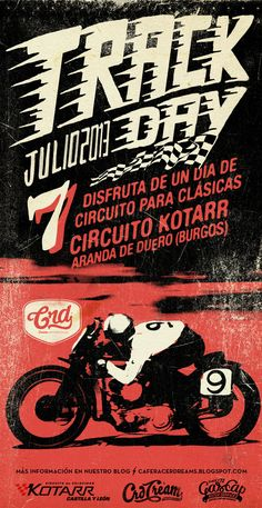 Track Day, poster for crd Alex Ramon Mas Design #illustration #design #motorcycles #motos | caferacerpasion.com