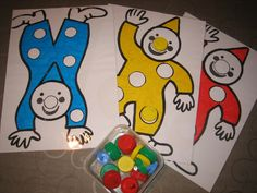 Kleurenspel met flessendopjes Preschool Circus, Circus Activities, Activities For 1 Year Olds, Nursery Activities, Math Activities, Toddler Activities, Carnival Crafts, Carnival Themes, Circus Theme