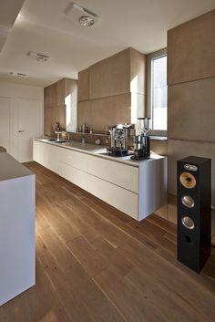 Bright Kitchen, Riverside Apartment in Bratislava, Slovakia