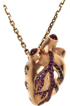 Heart of gold (and rubies) necklace