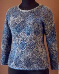 Купить Пуловер из мохера - тёмно-синий, пуловер вязаный, свитер вязаный, ручное вязание