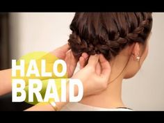 The Perfect Halo Braid for Short Hair | NewBeauty Tips and Tutorials - YouTube - Love this idea.  Just braid one side over further than the other side...should work for my hair length!