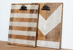 Two fabulous photo clipboards made with wood, stain and stenciling!