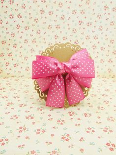 Handmade Boutique Ribbon Hair Bow In Pink White Dot To Small French Clip # SF001 #Unbranded
