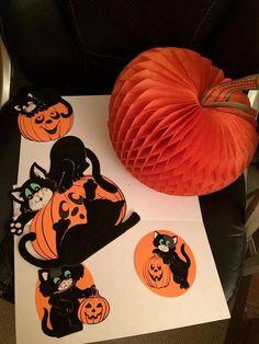 vintage halloween decorations black velvet cats crepe paper