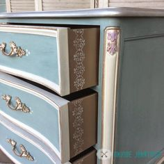 Warm Silver and Oyster Metallic Paint by Modern Masters enhance a beautiful dresser by Unique Junktique