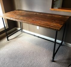 HIS & HER HOME reclaimed wood and steel pipe desk #customdesk #reclaimedwood #barnwood #steelpipedesk