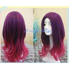 Purple to Hot Pink Ombre Cosplay Wig Long Ombre Cosplay Anime Wigs for... ($29) ❤ liked on Polyvore featuring wigs, hair, accessories, grey and hair accessories