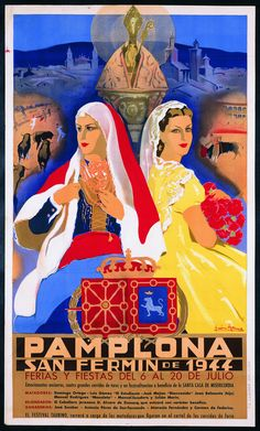 Here is a selection of Posters from the famous Pamplona bull race festival in San Fermin, Spain from 1900 to via San Fermin Pamplona, Pamplona Spain, Advertising Poster, Poster Ads, Poster Prints, Spanish Posters, Vintage Travel Posters, Spain Travel, Wanderlust Travel