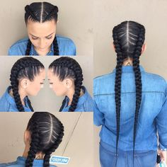 21 Trendy Braided Hairstyles to Try This Summer Two Long Cornrows - Dieser Stil ist sehr Kim K und w Two Braid Hairstyles, Black Hairstyles, Two Braids Hairstyle Black Women, Party Hairstyles, Beehive Hairstyles, Wedding Hairstyles, Gorgeous Hairstyles, Hairstyles Pictures, Girl Hairstyles