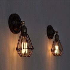 Buyee® 2*Modern Vintage Industrial Loft Metal Rustic Scone Wall Light Wall Lamp(Bronze, 2 wall light)
